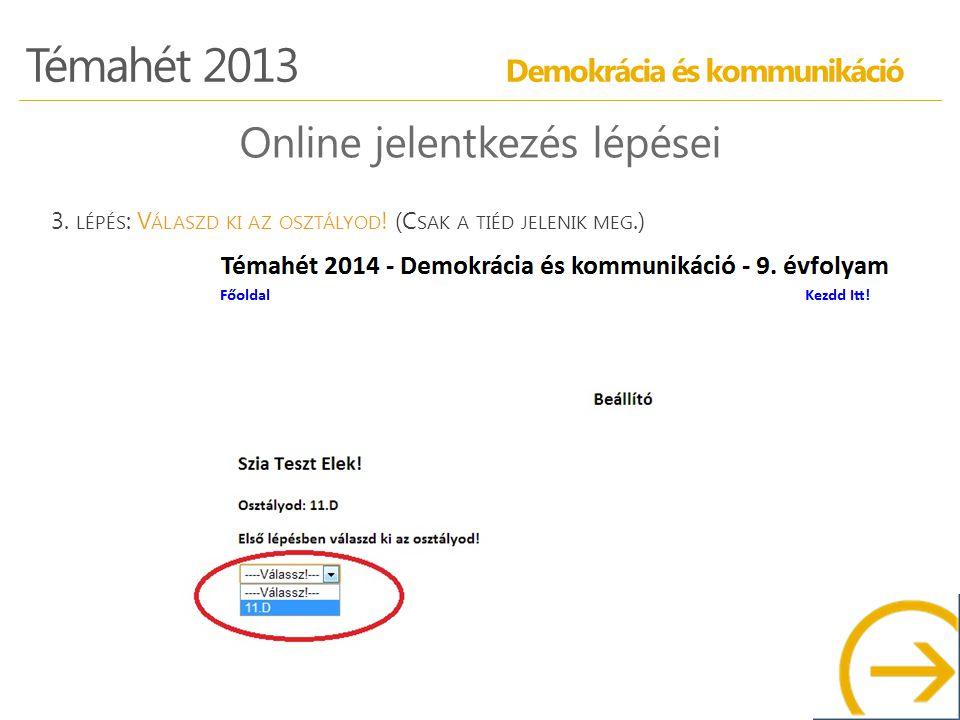 Témahét 2013 Demokrácia és kommunikáció Online jelentkezés lépései 3.