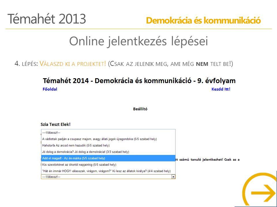 Témahét 2013 Demokrácia és kommunikáció Online jelentkezés lépései 4.