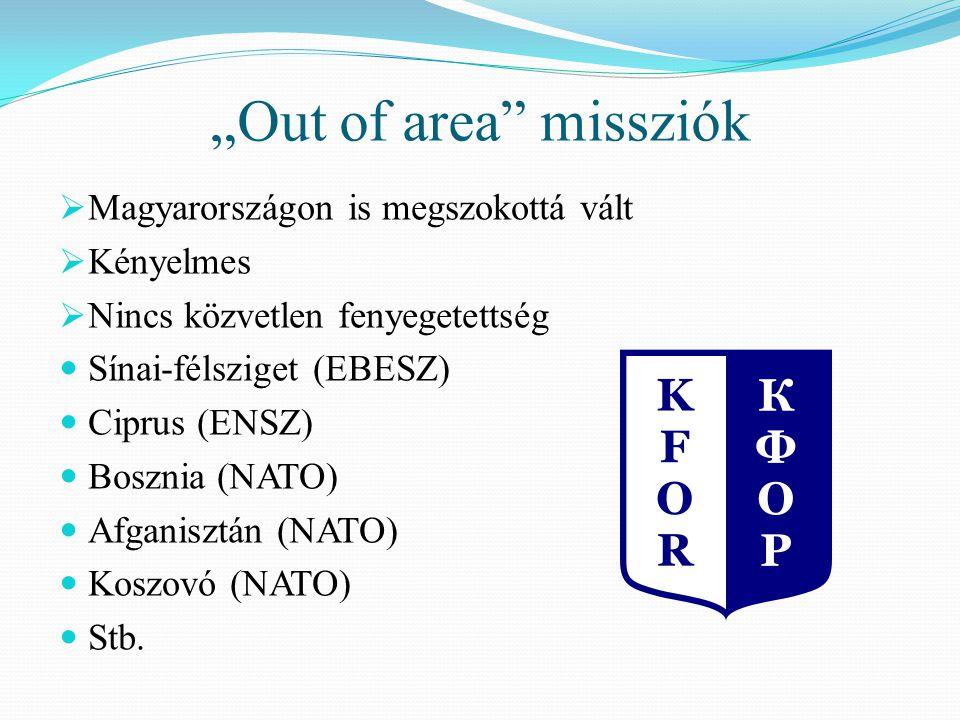 """""""Out of area missziók  Magyarországon is megszokottá vált  Kényelmes  Nincs közvetlen fenyegetettség Sínai-félsziget (EBESZ) Ciprus (ENSZ) Bosznia (NATO) Afganisztán (NATO) Koszovó (NATO) Stb."""