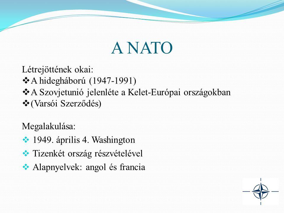 A NATO Létrejöttének okai:  A hidegháború (1947-1991)  A Szovjetunió jelenléte a Kelet-Európai országokban  (Varsói Szerződés) Megalakulása:  1949.