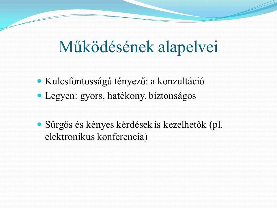 Működésének alapelvei Kulcsfontosságú tényező: a konzultáció Legyen: gyors, hatékony, biztonságos Sürgős és kényes kérdések is kezelhetők (pl.