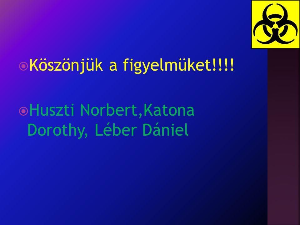  Köszönjük a figyelmüket!!!!  Huszti Norbert,Katona Dorothy, Léber Dániel