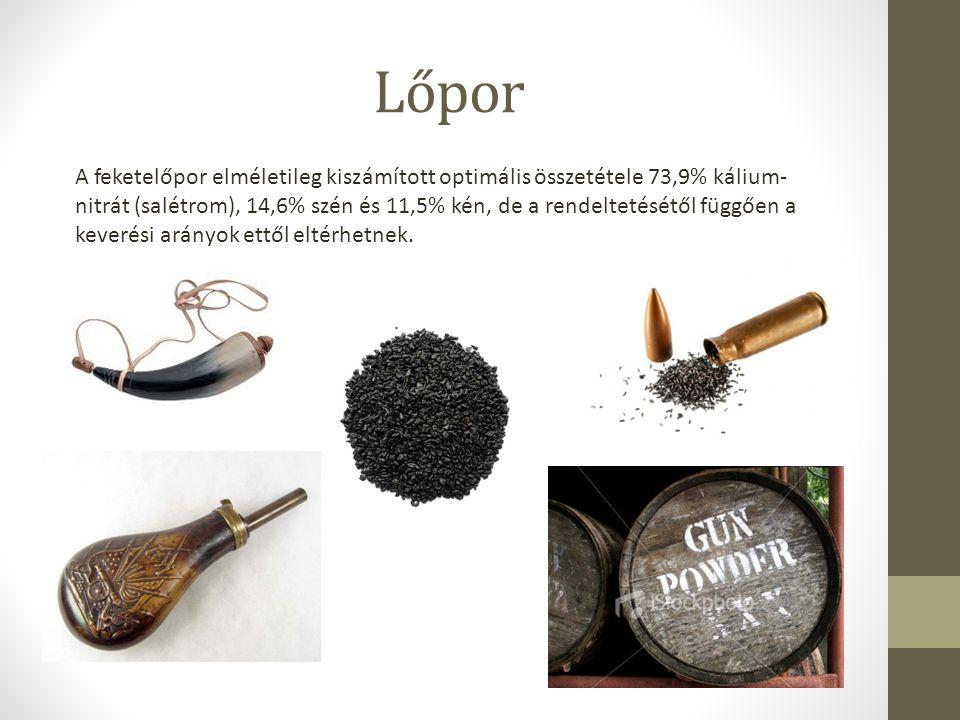 Lőpor A feketelőpor elméletileg kiszámított optimális összetétele 73,9% kálium- nitrát (salétrom), 14,6% szén és 11,5% kén, de a rendeltetésétől függő