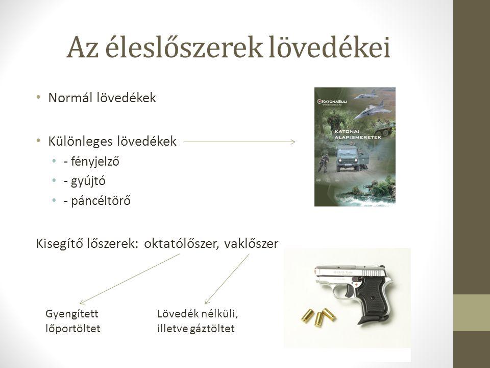 Az éleslőszerek lövedékei Normál lövedékek Különleges lövedékek - fényjelző - gyújtó - páncéltörő Kisegítő lőszerek: oktatólőszer, vaklőszer Gyengítet