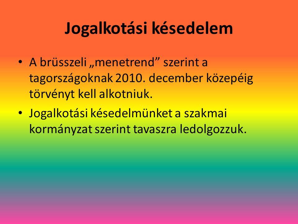 """Jogalkotási késedelem A brüsszeli """"menetrend szerint a tagországoknak 2010."""
