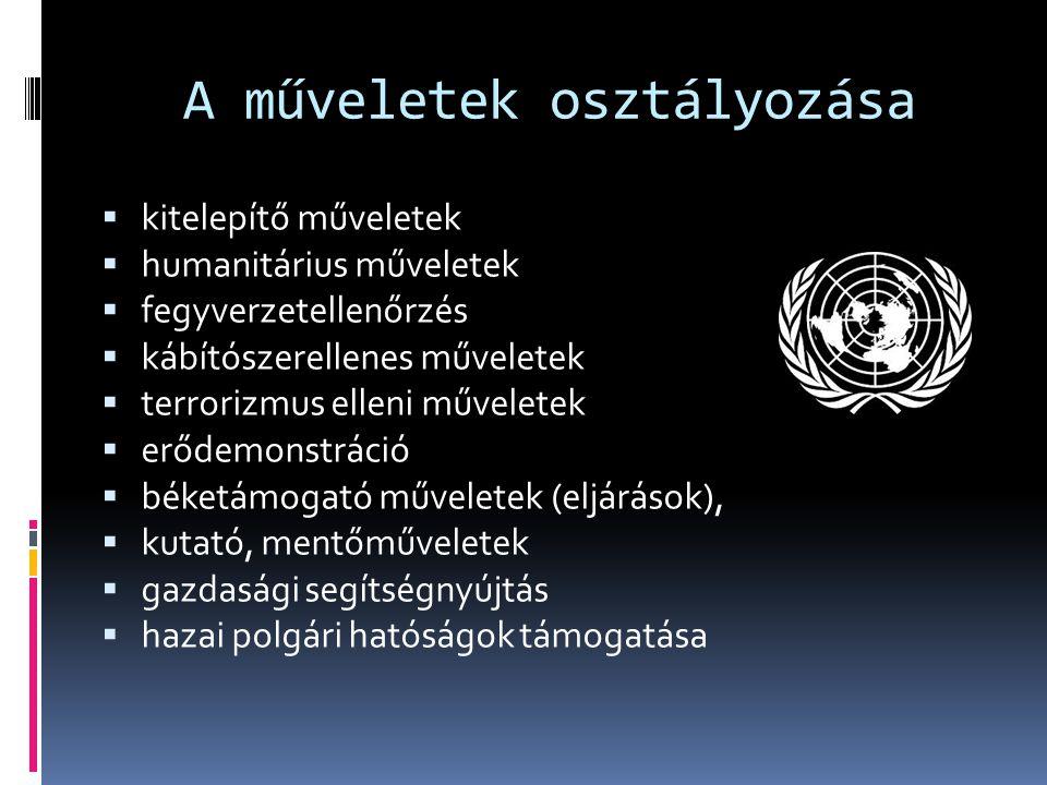 A műveletek osztályozása  kitelepítő műveletek  humanitárius műveletek  fegyverzetellenőrzés  kábítószerellenes műveletek  terrorizmus elleni műv