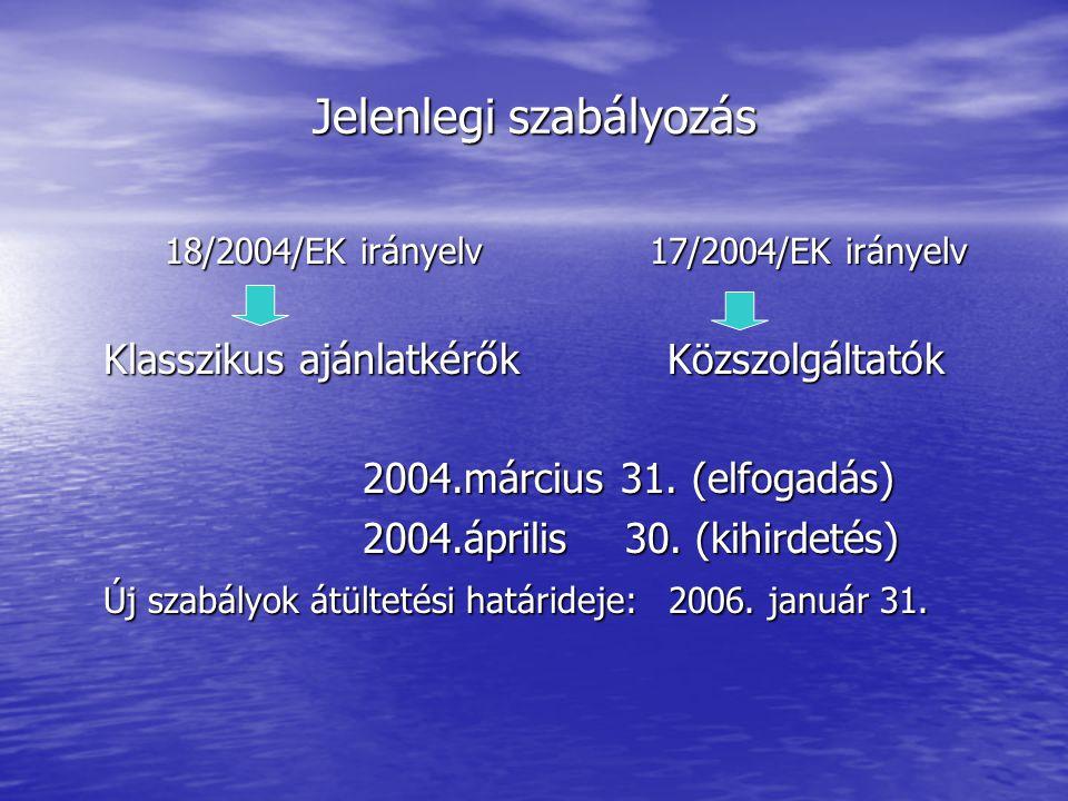Jelenlegi szabályozás 18/2004/EK irányelv 17/2004/EK irányelv 18/2004/EK irányelv 17/2004/EK irányelv Klasszikus ajánlatkérők Közszolgáltatók Klasszikus ajánlatkérők Közszolgáltatók 2004.március 31.