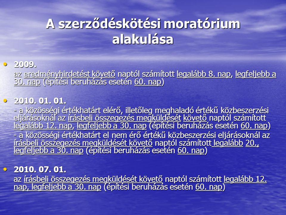 A szerződéskötési moratórium alakulása 2009. 2009.
