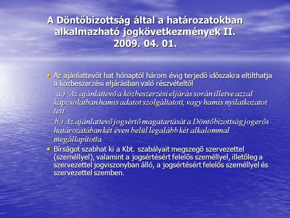 A Döntőbizottság által a határozatokban alkalmazható jogkövetkezmények II.
