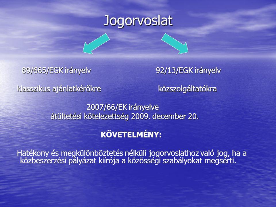 Jogorvoslat 89/665/EGK irányelv 92/13/EGK irányelv 89/665/EGK irányelv 92/13/EGK irányelv klasszikus ajánlatkérőkre közszolgáltatókra klasszikus ajánlatkérőkre közszolgáltatókra 2007/66/EK irányelve 2007/66/EK irányelve átültetési kötelezettség 2009.