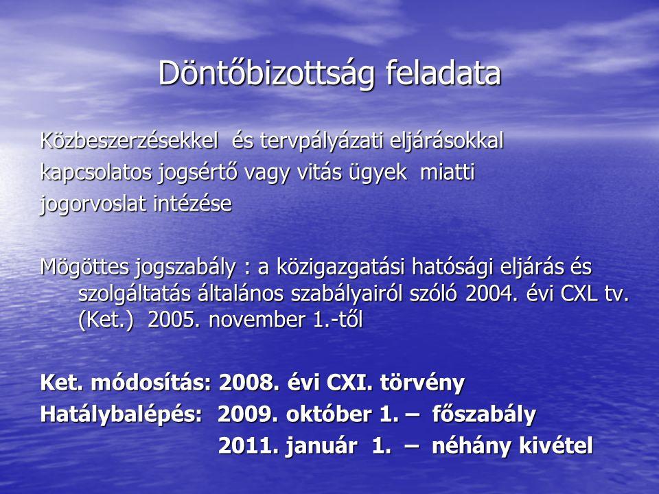 Döntőbizottság feladata Közbeszerzésekkel és tervpályázati eljárásokkal kapcsolatos jogsértő vagy vitás ügyek miatti jogorvoslat intézése Mögöttes jogszabály : a közigazgatási hatósági eljárás és szolgáltatás általános szabályairól szóló 2004.