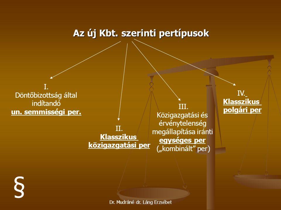 Dr. Mudráné dr. Láng Erzsébet Az új Kbt. szerinti pertípusok I. Döntőbizottság által indítandó un. semmisségi per. II. Klasszikus közigazgatási per II