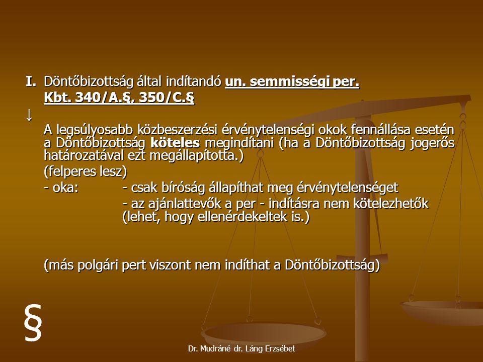Dr. Mudráné dr. Láng Erzsébet I. Döntőbizottság által indítandó un. semmisségi per. Kbt. 340/A.§, 350/C.§ ↓ A legsúlyosabb közbeszerzési érvénytelensé