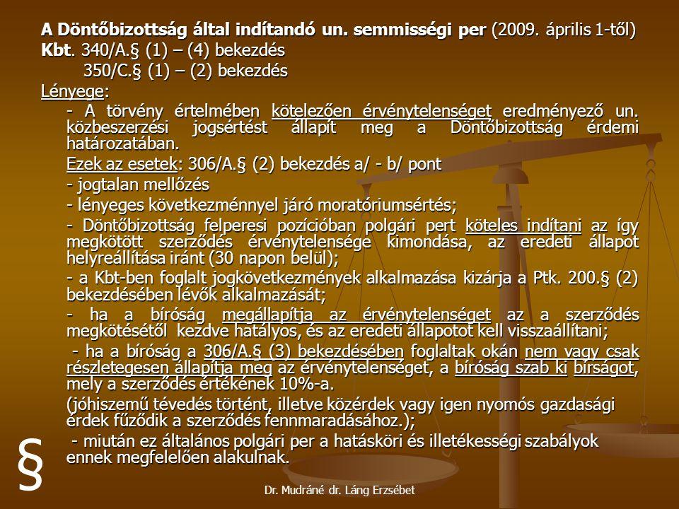 Dr. Mudráné dr. Láng Erzsébet A Döntőbizottság által indítandó un. semmisségi per (2009. április 1-től) Kbt. 340/A.§ (1) – (4) bekezdés 350/C.§ (1) –
