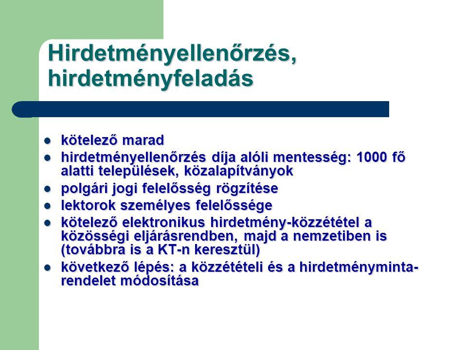 Hirdetményellenőrzés, hirdetményfeladás kötelező marad kötelező marad hirdetményellenőrzés díja alóli mentesség: 1000 fő alatti települések, közalapít