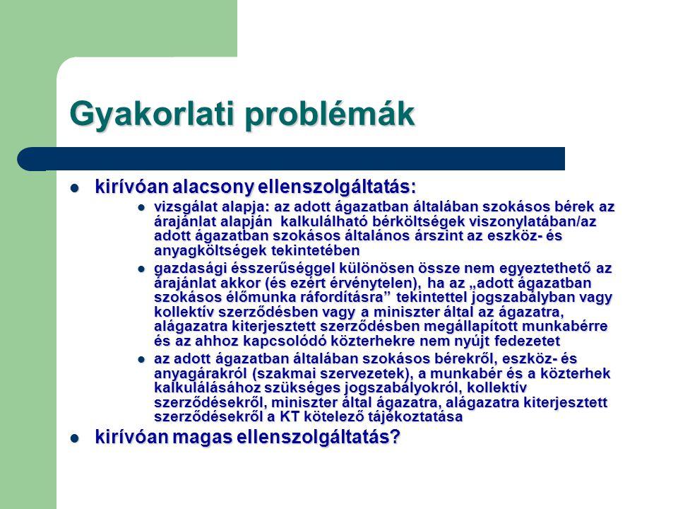 Gyakorlati problémák kirívóan alacsony ellenszolgáltatás: kirívóan alacsony ellenszolgáltatás: vizsgálat alapja: az adott ágazatban általában szokásos