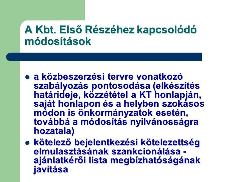 A Kbt. Első Részéhez kapcsolódó módosítások a közbeszerzési tervre vonatkozó szabályozás pontosodása (elkészítés határideje, közzététel a KT honlapján