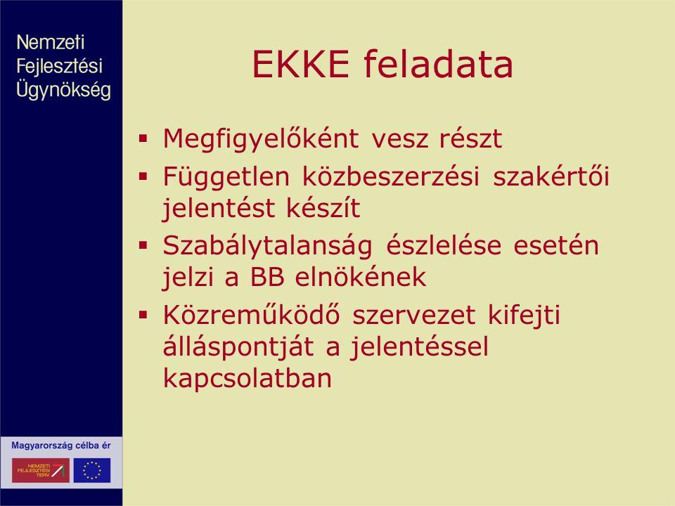 EKKE feladata  Megfigyelőként vesz részt  Független közbeszerzési szakértői jelentést készít  Szabálytalanság észlelése esetén jelzi a BB elnökének
