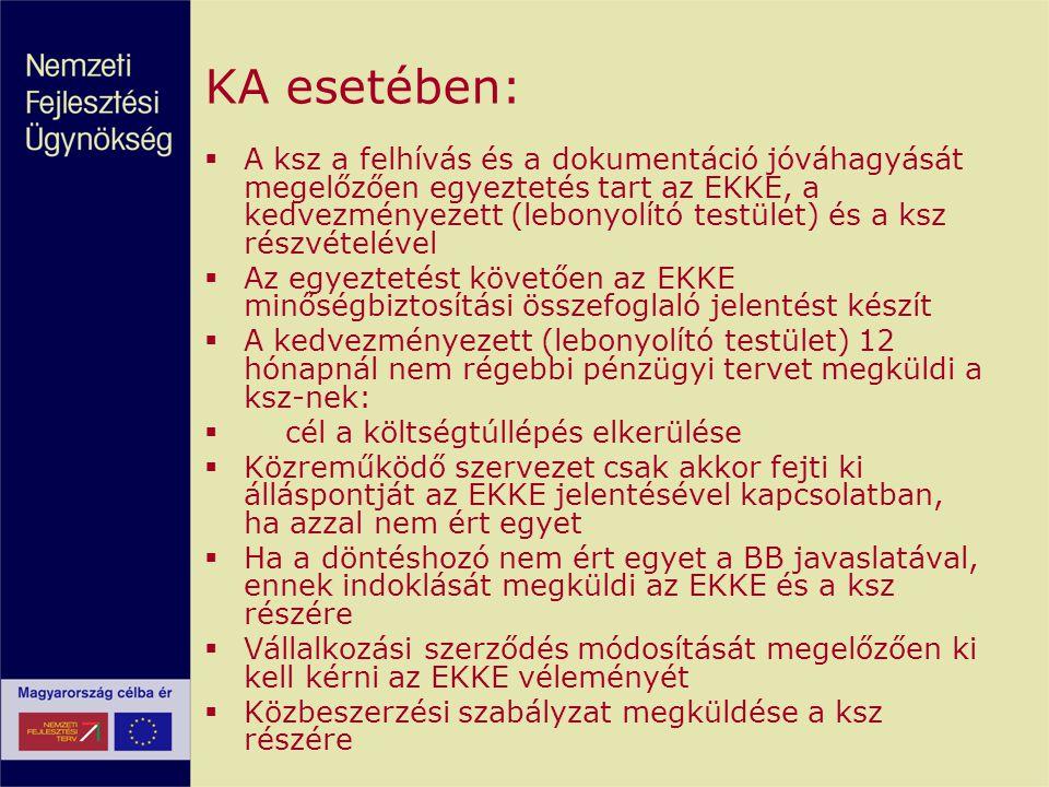 KA esetében:  A ksz a felhívás és a dokumentáció jóváhagyását megelőzően egyeztetés tart az EKKE, a kedvezményezett (lebonyolító testület) és a ksz r