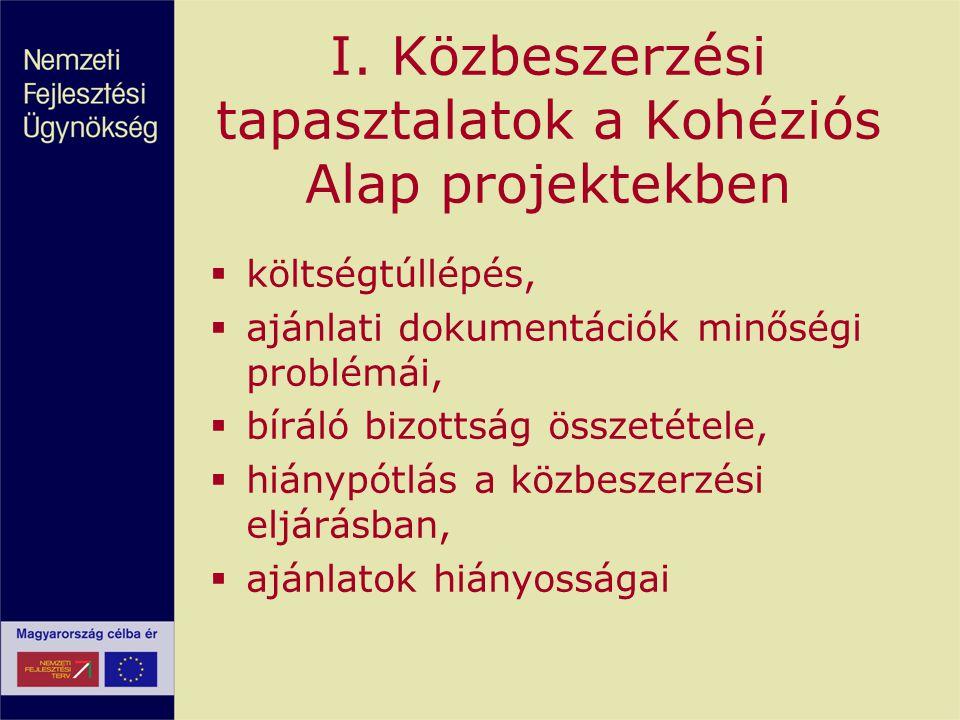 I. Közbeszerzési tapasztalatok a Kohéziós Alap projektekben  költségtúllépés,  ajánlati dokumentációk minőségi problémái,  bíráló bizottság összeté
