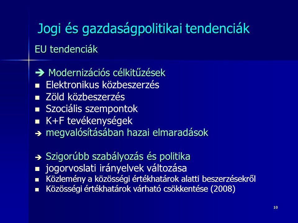 10 Jogi és gazdaságpolitikai tendenciák EU tendenciák  Modernizációs célkitűzések Elektronikus közbeszerzés Zöld közbeszerzés Szociális szempontok K+