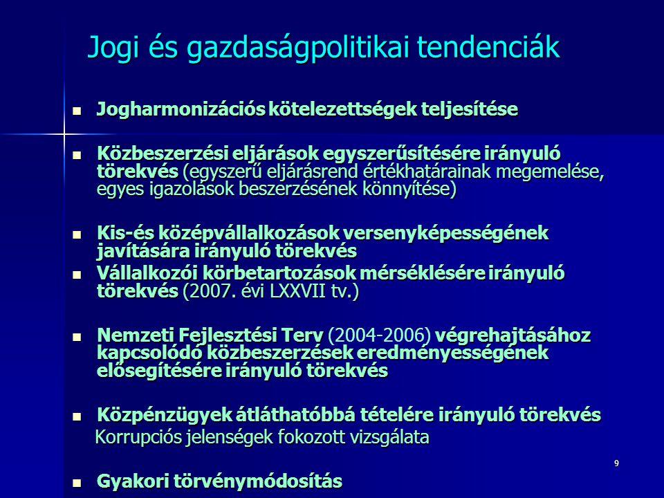 10 Jogi és gazdaságpolitikai tendenciák EU tendenciák  Modernizációs célkitűzések Elektronikus közbeszerzés Zöld közbeszerzés Szociális szempontok K+F tevékenységek  megvalósításában hazai elmaradások  Szigorúbb szabályozás és politika jogorvoslati irányelvek változása Közlemény a közösségi értékhatárok alatti beszerzésekről Közösségi értékhatárok várható csökkentése (2008)