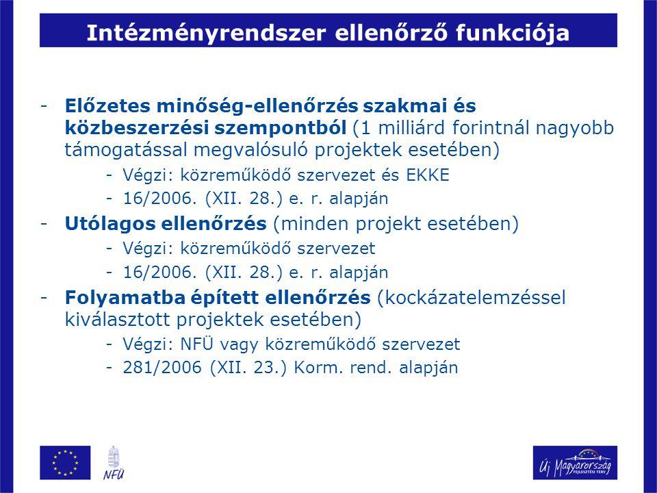 Intézményrendszer ellenőrző funkciója -Előzetes minőség-ellenőrzés szakmai és közbeszerzési szempontból (1 milliárd forintnál nagyobb támogatással megvalósuló projektek esetében) -Végzi: közreműködő szervezet és EKKE -16/2006.