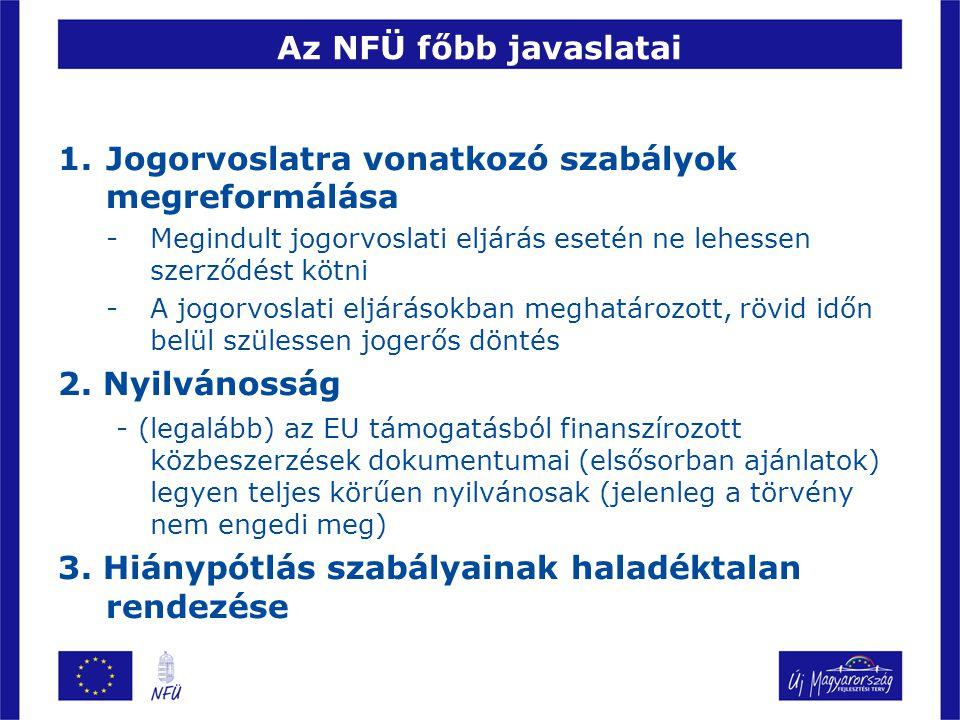 Az NFÜ javaslatai 4.Korrupciós helyzetek, befolyásolási lehetőségek kiküszöbölése 5.