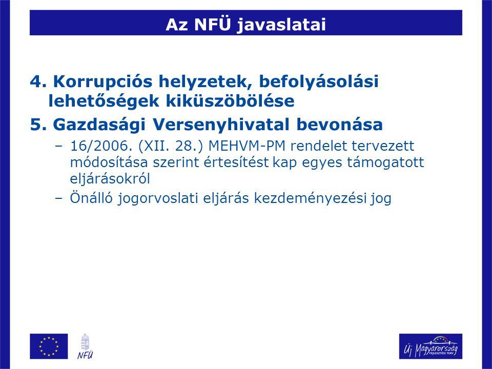 Az NFÜ javaslatai 4. Korrupciós helyzetek, befolyásolási lehetőségek kiküszöbölése 5.