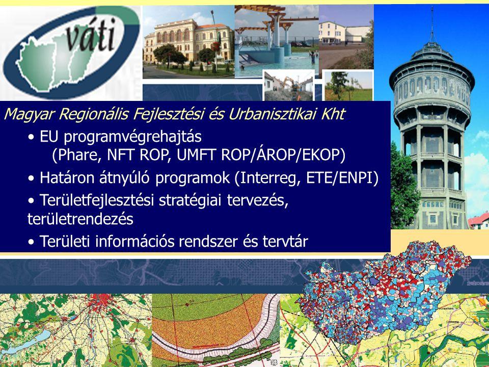 Magyar Regionális Fejlesztési és Urbanisztikai Kht EU programvégrehajtás (Phare, NFT ROP, UMFT ROP/ÁROP/EKOP) Határon átnyúló programok (Interreg, ETE/ENPI) Területfejlesztési stratégiai tervezés, területrendezés Területi információs rendszer és tervtár