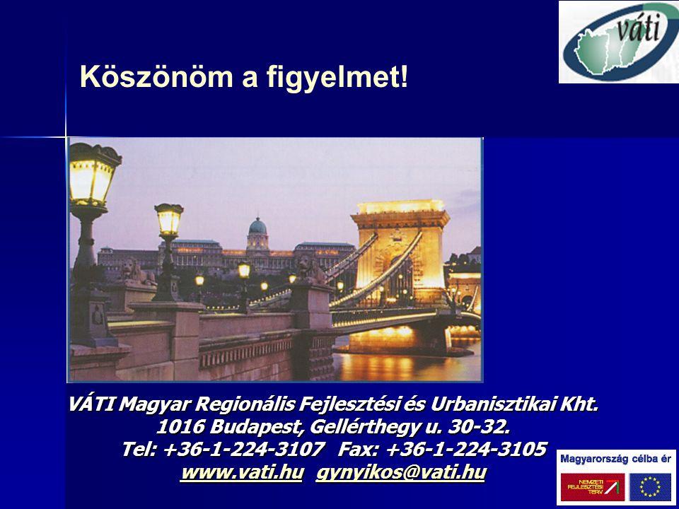 Köszönöm a figyelmet. VÁTI Magyar Regionális Fejlesztési és Urbanisztikai Kht.