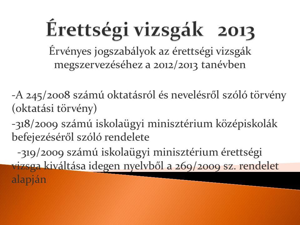 Érvényes jogszabályok az érettségi vizsgák megszervezéséhez a 2012/2013 tanévben -A 245/2008 számú oktatásról és nevelésről szóló törvény (oktatási tö
