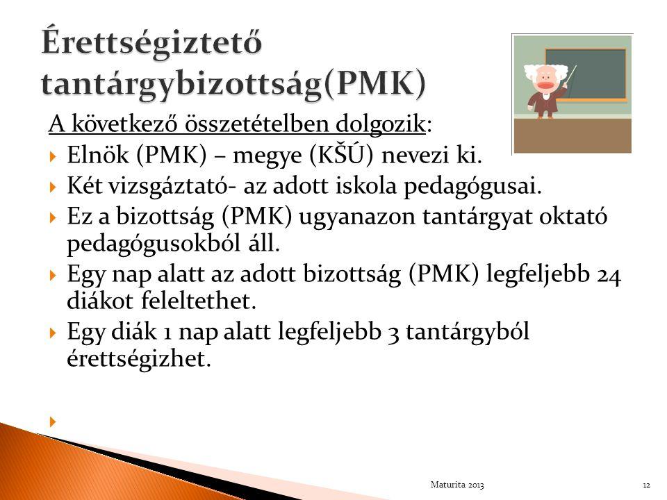A következő összetételben dolgozik:  Elnök (PMK) – megye (KŠÚ) nevezi ki.  Két vizsgáztató- az adott iskola pedagógusai.  Ez a bizottság (PMK) ugya