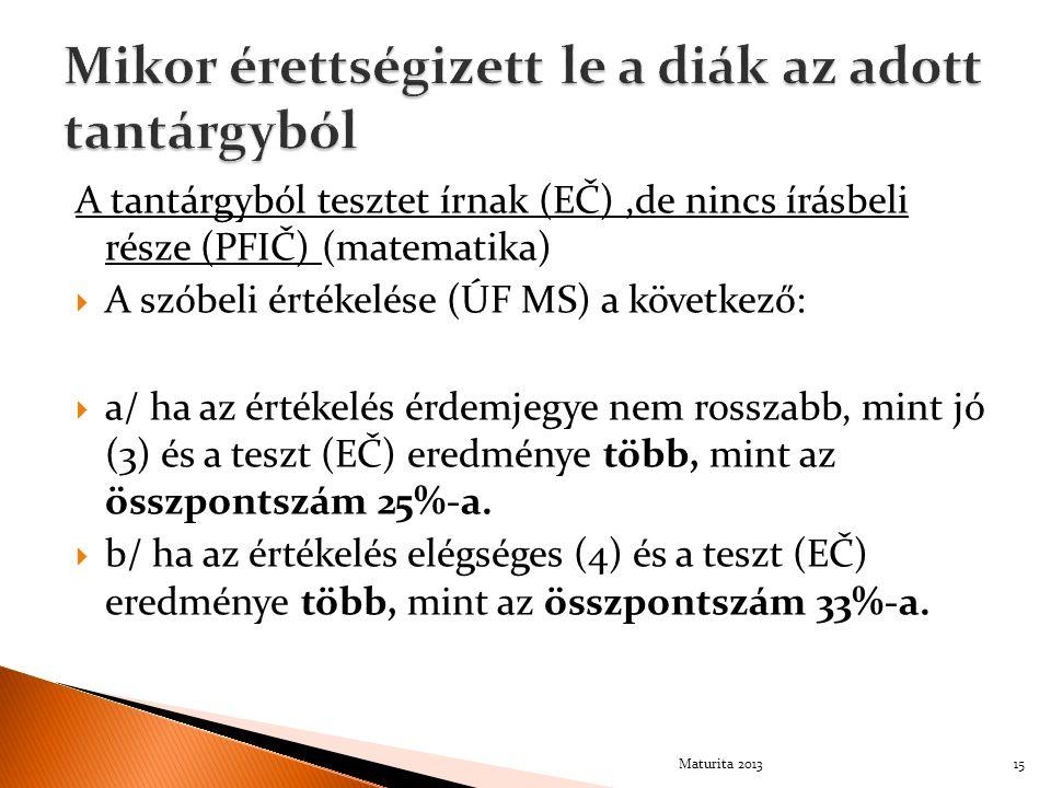 A tantárgyból tesztet írnak (EČ),de nincs írásbeli része (PFIČ) (matematika)  A szóbeli értékelése (ÚF MS) a következő:  a/ ha az értékelés érdemjeg