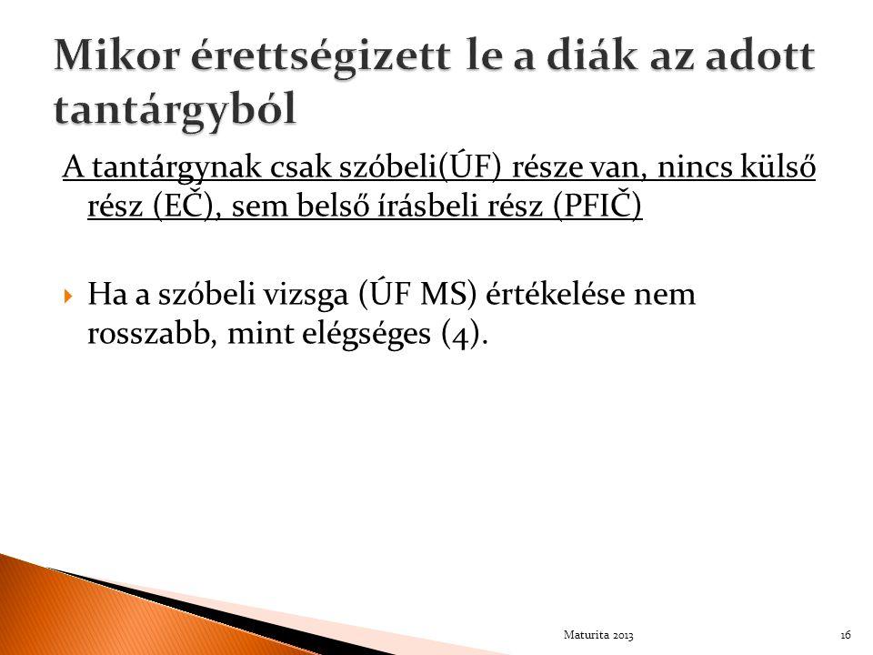 A tantárgynak csak szóbeli(ÚF) része van, nincs külső rész (EČ), sem belső írásbeli rész (PFIČ)  Ha a szóbeli vizsga (ÚF MS) értékelése nem rosszabb,