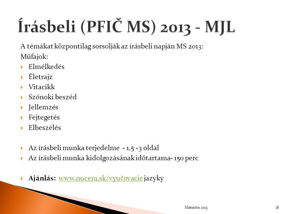 A témákat központilag sorsolják az írásbeli napján MS 2013: Műfajok:  Elmélkedés  Életrajz  Vitacikk  Szónoki beszéd  Jellemzés  Fejtegetés  El