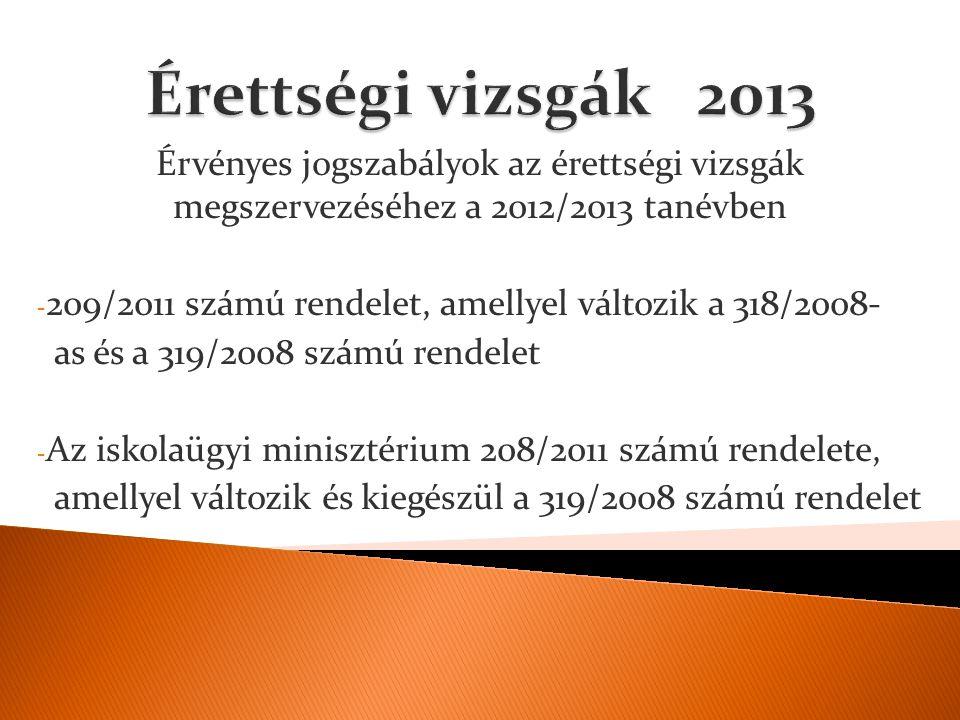 Érvényes jogszabályok az érettségi vizsgák megszervezéséhez a 2012/2013 tanévben - 209/2011 számú rendelet, amellyel változik a 318/2008- as és a 319/