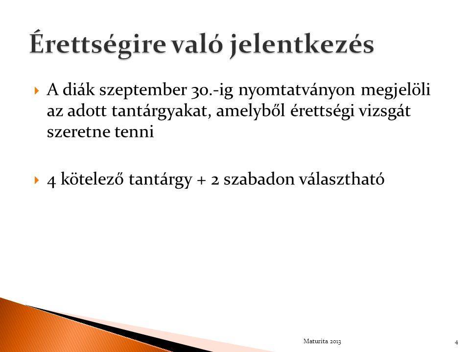  A diák szeptember 30.-ig nyomtatványon megjelöli az adott tantárgyakat, amelyből érettségi vizsgát szeretne tenni  4 kötelező tantárgy + 2 szabadon választható Maturita 20134