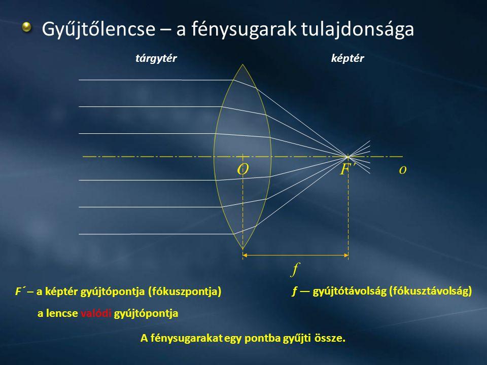 A fénysugarakat egy pontba gyűjti össze. F´ – a képtér gyújtópontja (fókuszpontja) a lencse valódi gyújtópontja tárgytérképtér Gyűjtőlencse – a fénysu