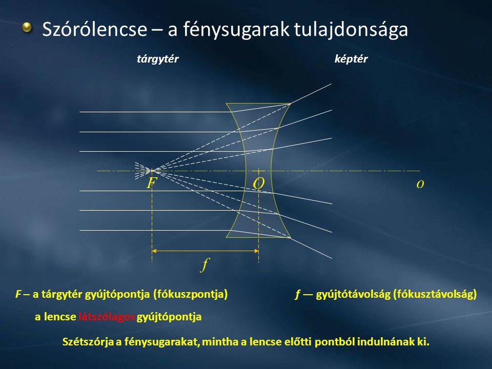tárgytérképtér Szórólencse – a fénysugarak tulajdonsága f F Szétszórja a fénysugarakat, mintha a lencse előtti pontból indulnának ki. F – a tárgytér g