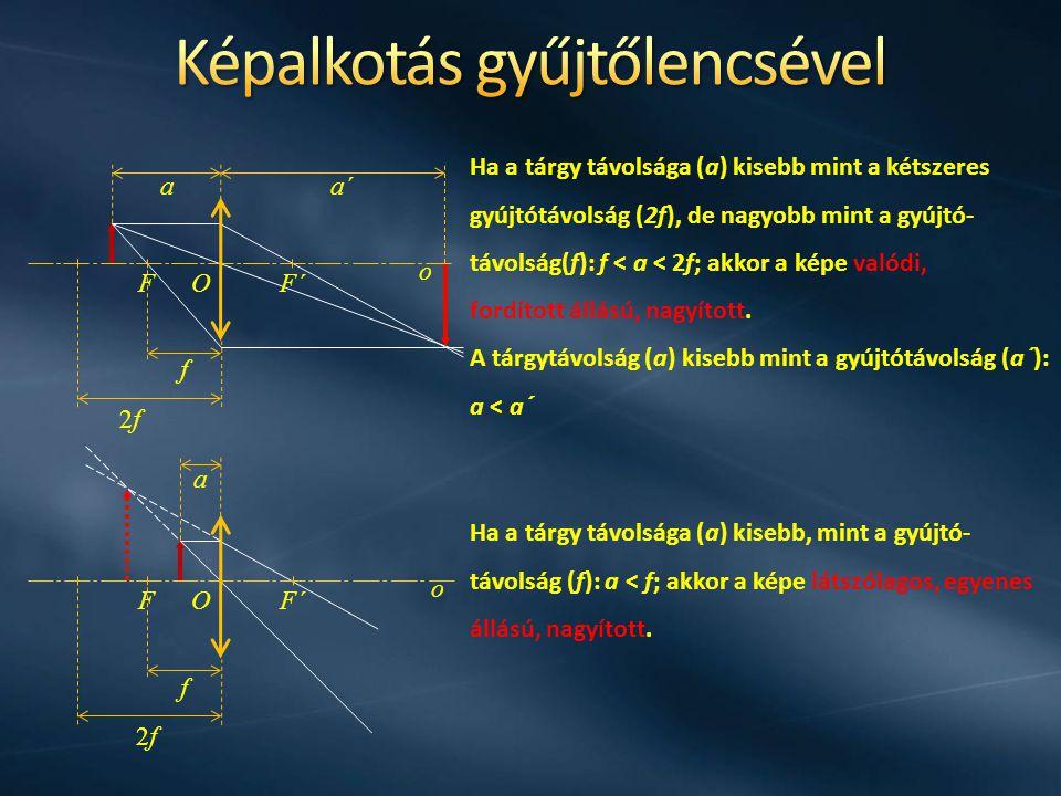 f 2f2f o OFF´ o OF Ha a tárgy távolsága (a) kisebb mint a kétszeres gyújtótávolság (2f), de nagyobb mint a gyújtó- távolság(f): f < a < 2f; akkor a ké