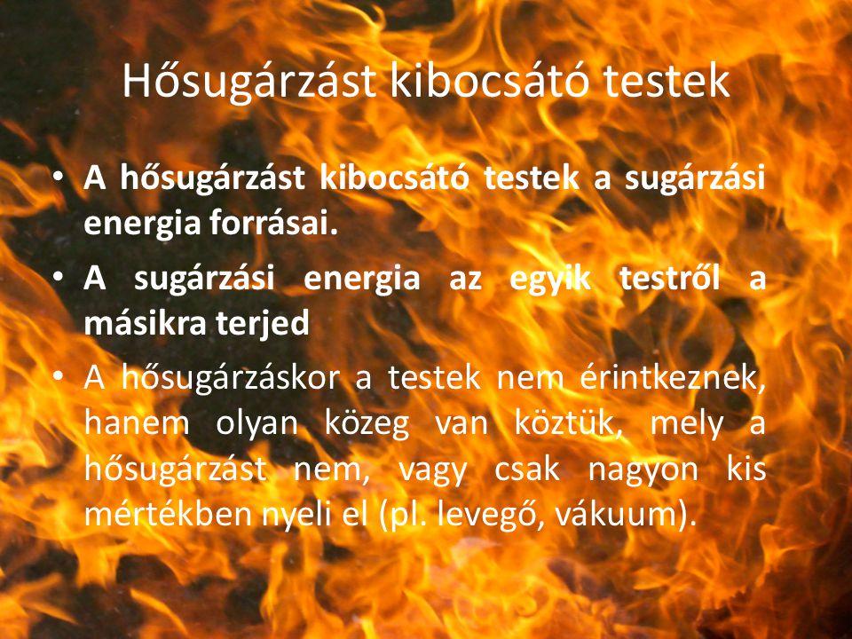 Hősugárzást kibocsátó testek A hősugárzást kibocsátó testek a sugárzási energia forrásai. A sugárzási energia az egyik testről a másikra terjed A hősu