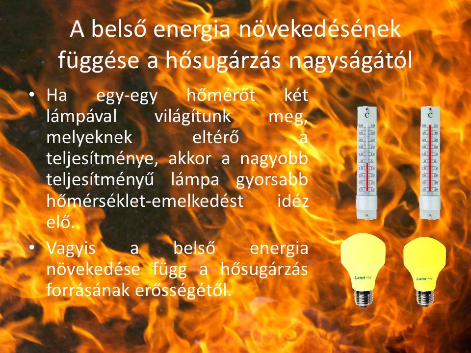 A belső energia növekedésének függése a hősugárzás nagyságától Ha egy-egy hőmérőt két lámpával világítunk meg, melyeknek eltérő a teljesítménye, akkor