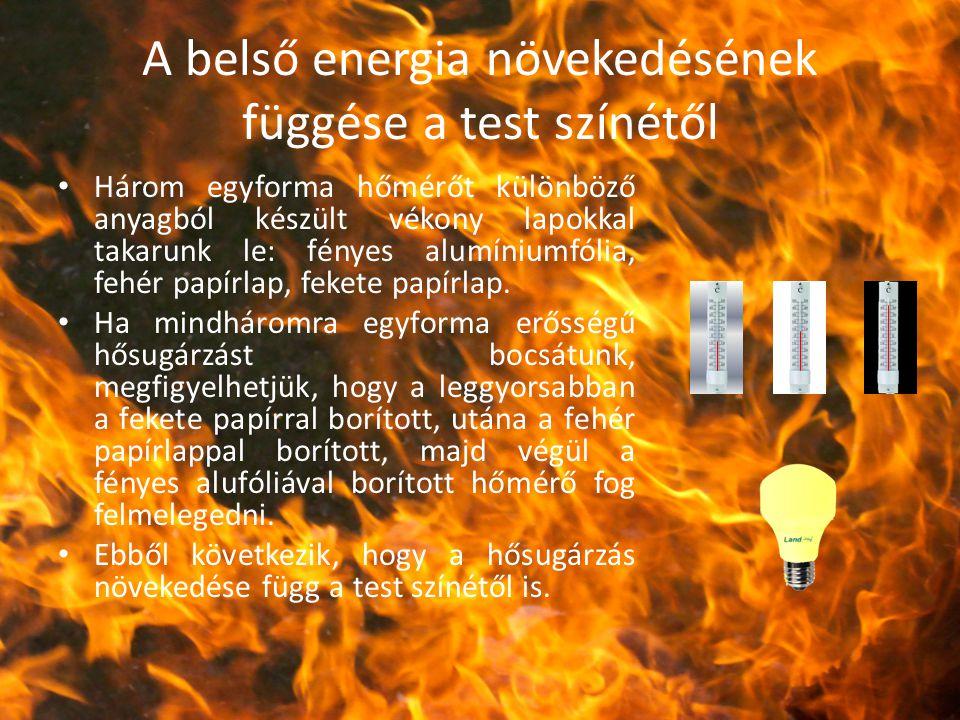 A belső energia növekedésének függése a test színétől Három egyforma hőmérőt különböző anyagból készült vékony lapokkal takarunk le: fényes alumíniumf