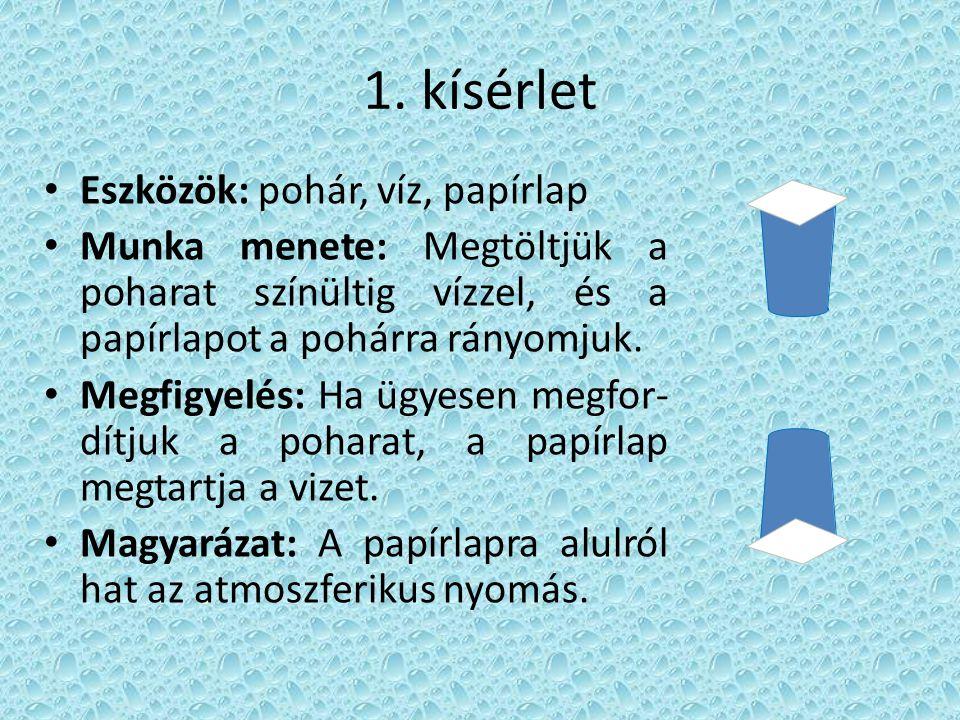 1. kísérlet Eszközök: pohár, víz, papírlap Munka menete: Megtöltjük a poharat színültig vízzel, és a papírlapot a pohárra rányomjuk. Megfigyelés: Ha ü