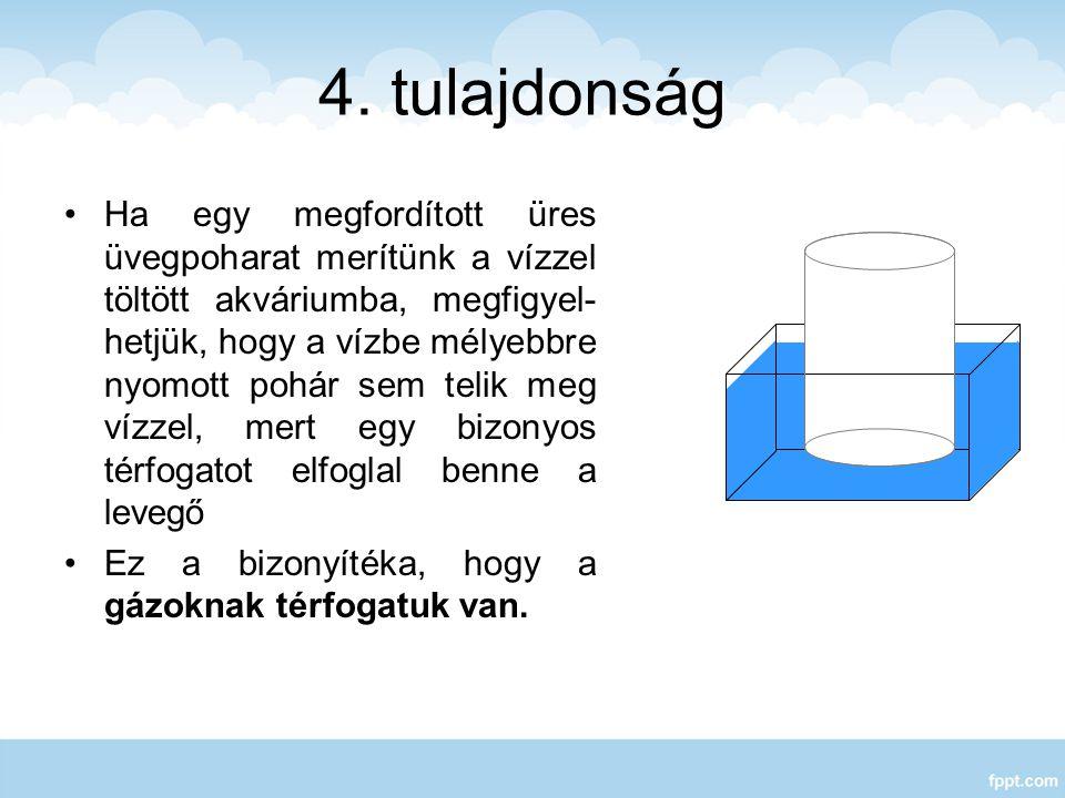 4. tulajdonság Ha egy megfordított üres üvegpoharat merítünk a vízzel töltött akváriumba, megfigyel- hetjük, hogy a vízbe mélyebbre nyomott pohár sem