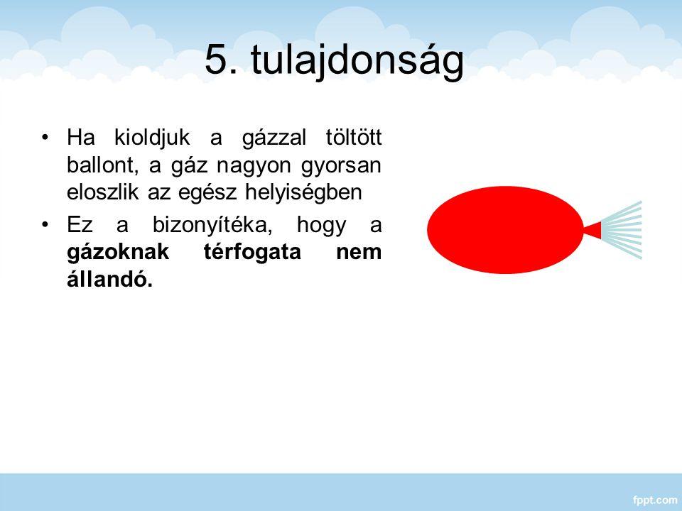 5. tulajdonság Ha kioldjuk a gázzal töltött ballont, a gáz nagyon gyorsan eloszlik az egész helyiségben Ez a bizonyítéka, hogy a gázoknak térfogata ne