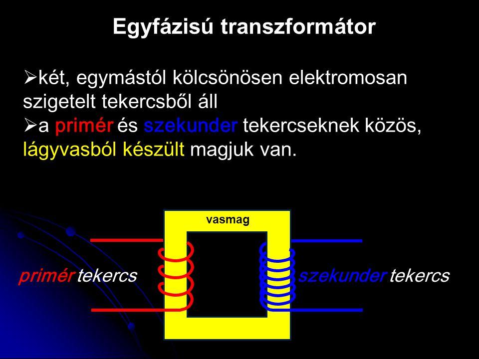 Egyfázisú transzformátor primér tekercs szekunder tekercs  két, egymástól kölcsönösen elektromosan szigetelt tekercsből áll  a a primér és szekunde