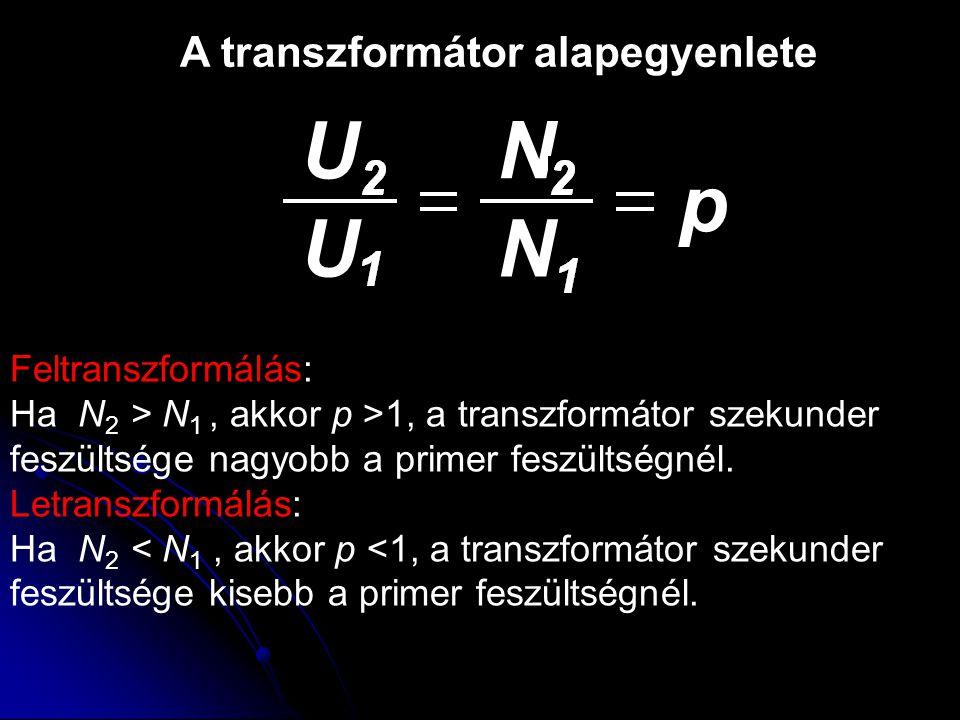 Feltranszformálás: Ha N 2 > N 1, akkor p >1, a transzformátor szekunder feszültsége nagyobb a primer feszültségnél. Letranszformálás: Ha N 2 < N 1, ak