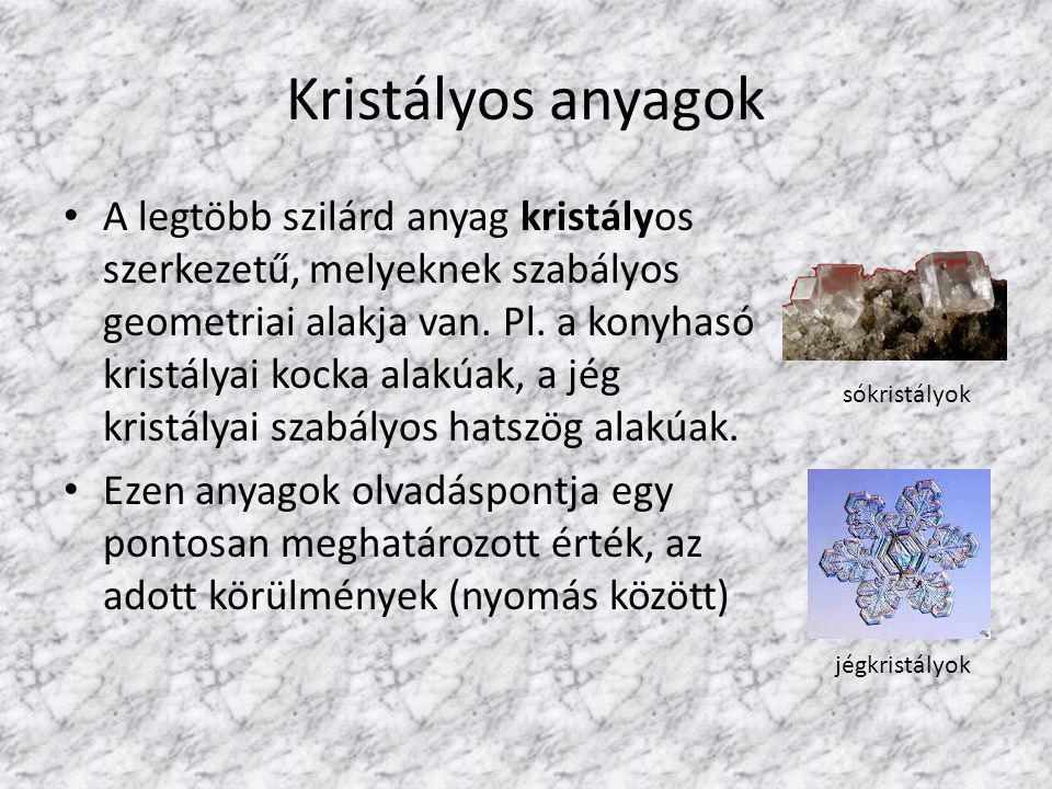Kristályos anyagok A legtöbb szilárd anyag kristályos szerkezetű, melyeknek szabályos geometriai alakja van. Pl. a konyhasó kristályai kocka alakúak,
